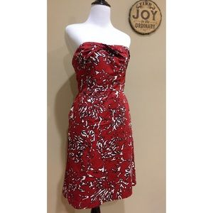 New The Limited Red Print Strapless Sheath Dress